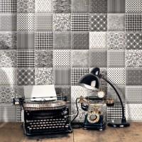 15x15cm立體面 黑白素磚/隨機花磚